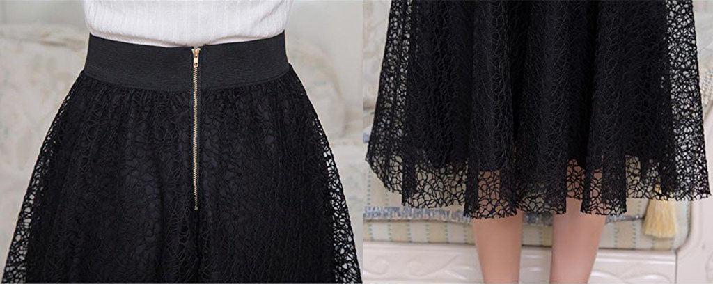 Elegant lace skirt women long pleated skirt A-lines
