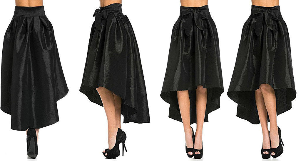 Asymmetric ladies skirt satin pleated skirt for cocktail party