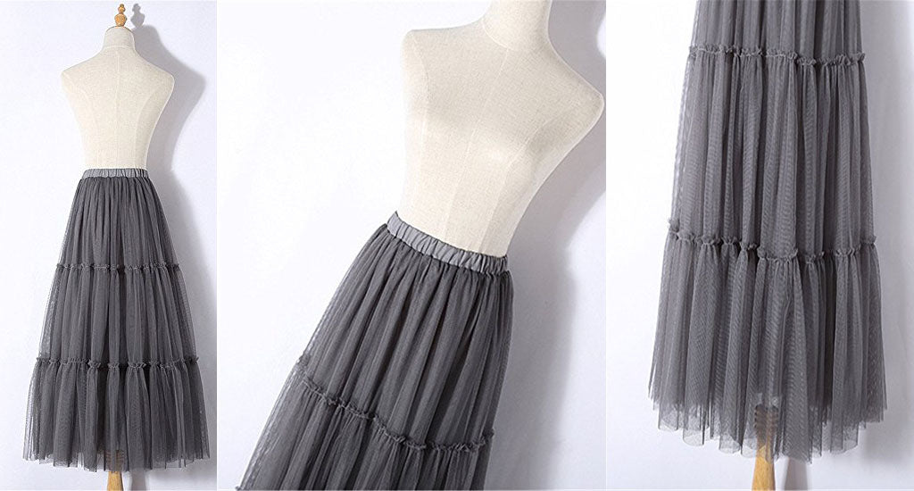 Ladies tulle pleated skirt summer long elegant tutu skirt