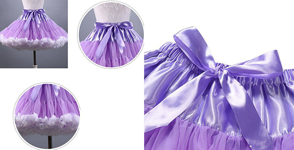 Ladies girls short tutu skirt dance skirt with bow