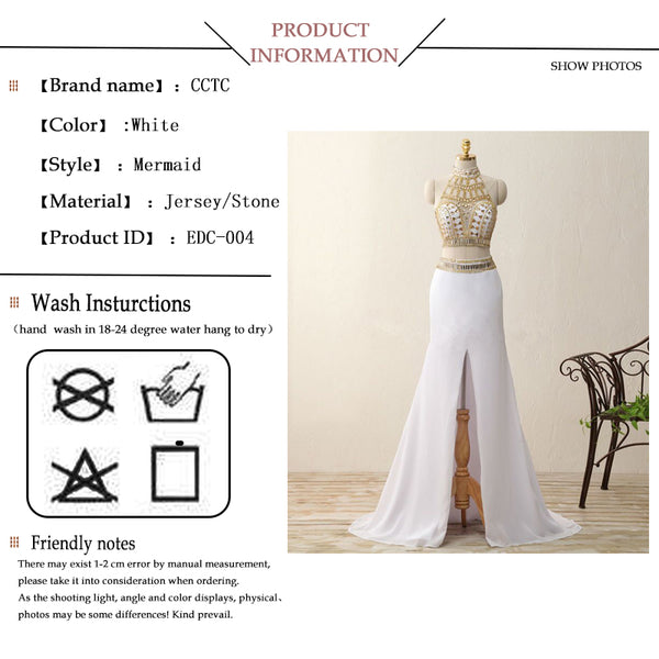 High low evening dresses women two piece sleeveless gold crystal