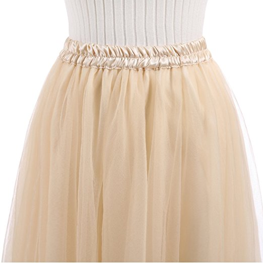 Long skirt women's 5 layers tulle princess skirt with waistband
