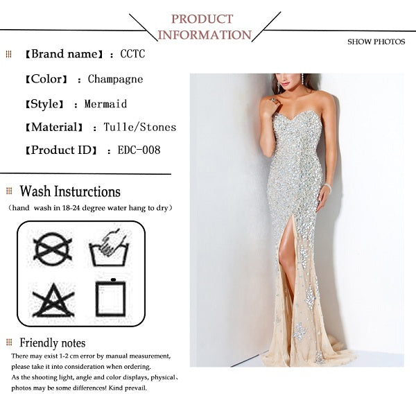 Mermaid evening dress luxury women party crystals applique skirt