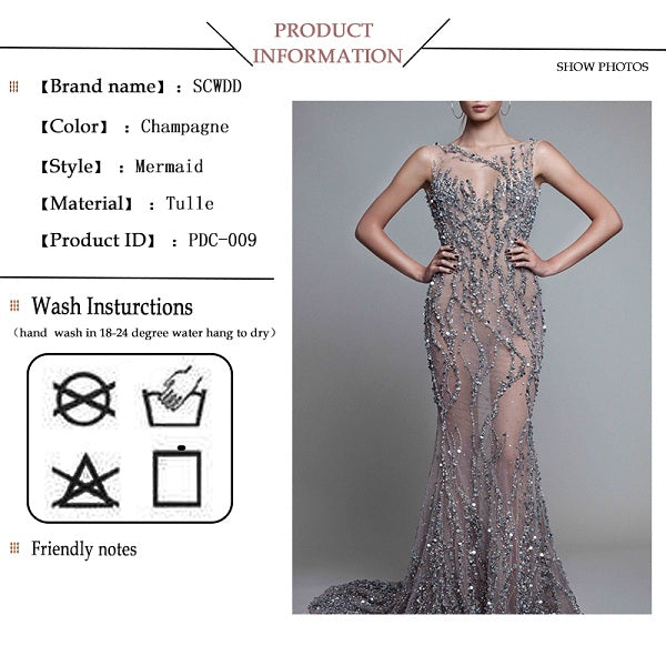 Mermaid party dresses see through floor length luxury prom dresses