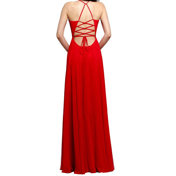 Prom dress with high dlit halter style and sleeveless