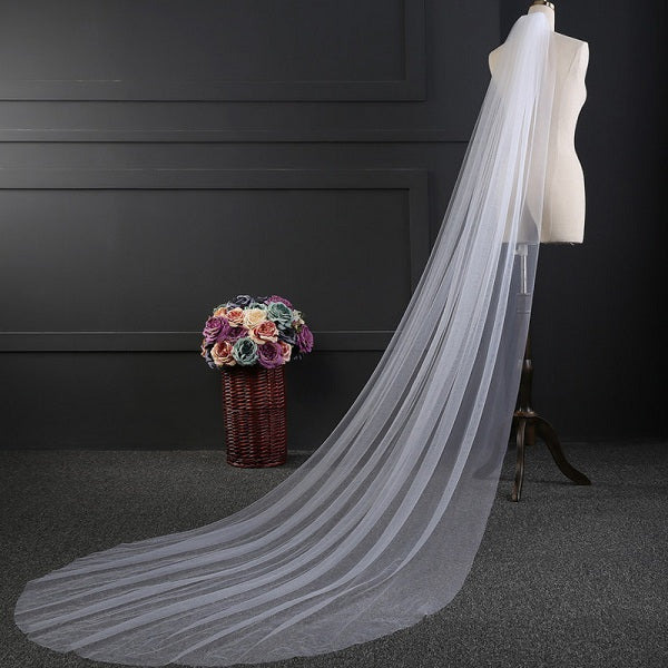 Soft tulle long one layer bridal veil wedding accessories
