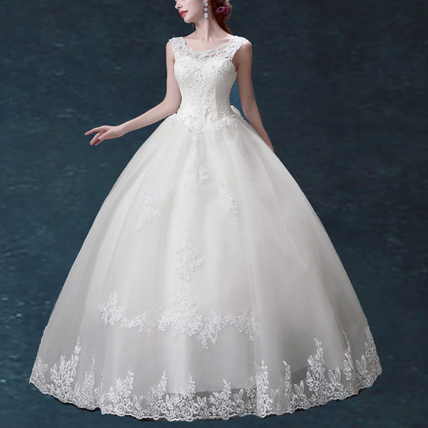 White wedding dresses with free Veil+Petticoat+Gloves