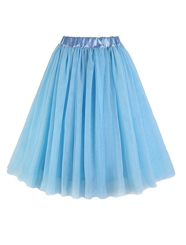 A-line 3 layers short knee-length tulle skirts S102