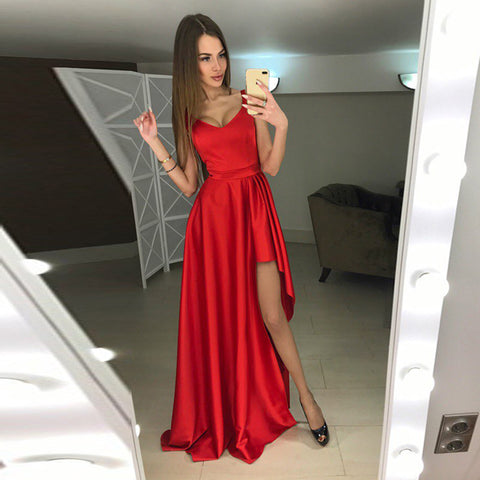 A-line Hi-Lo sleeveless red modern scoop prom dresses B96