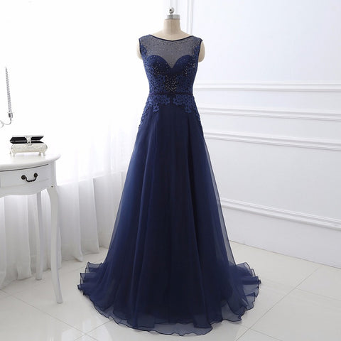 A-line formal dresses sheer neck chiffon evening dresses E33