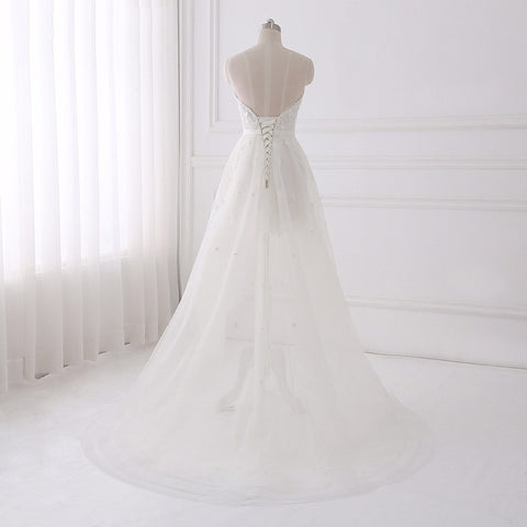 A-line wedding dresses lace strapless asymmetrical dress crystal D67