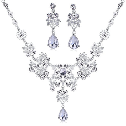 Alloy rhinestone earrings crystal necklace sets accessories S96