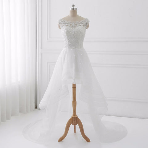 Asymmetrical wedding dresses A-Line appliques tulle dress D81