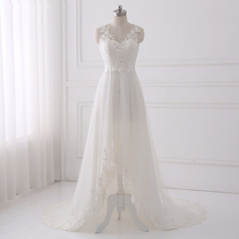 Asymmetrical wedding dresses lace applique V-neck dress D63