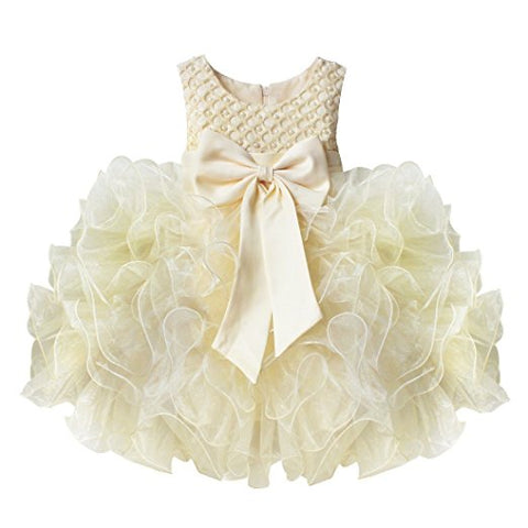 Baby flower girls bowknot communion princess dress S53