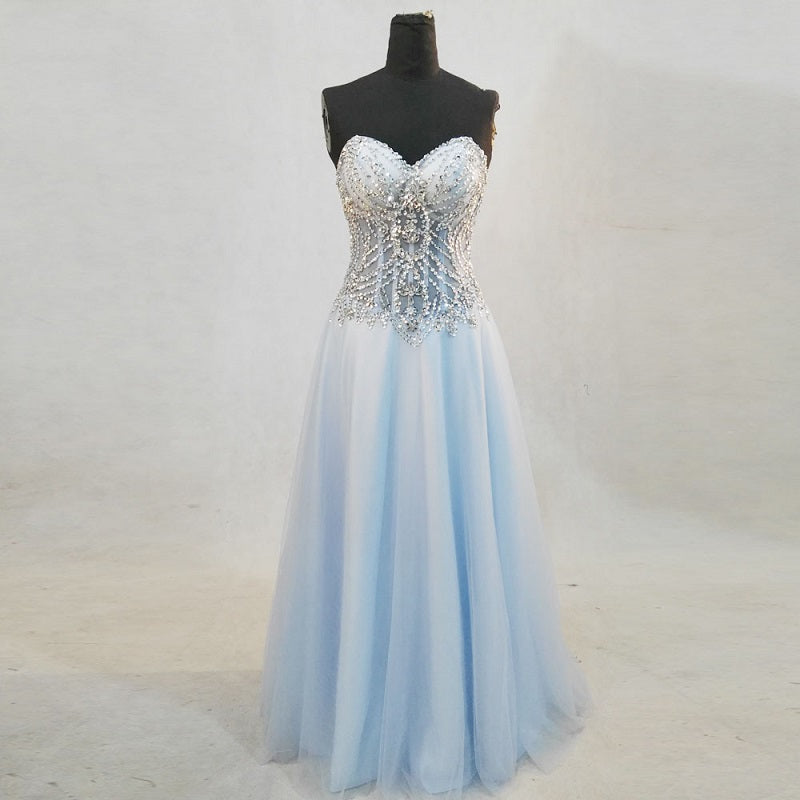 Shop Beaded crystal sweetheart neckline formal dresses corset ball ...