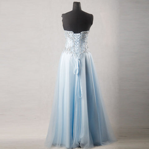 Beaded crystal tulle formal dresses corset ball gown B22