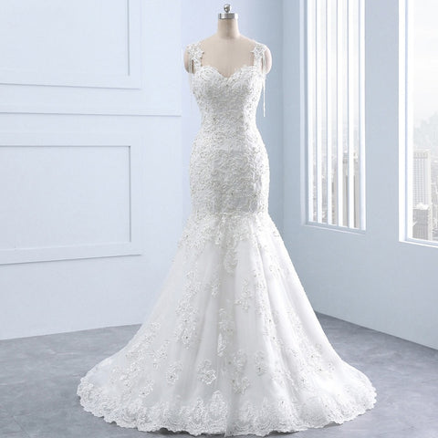 Beaded mermaid tulle wedding dresses lace applique dress W06