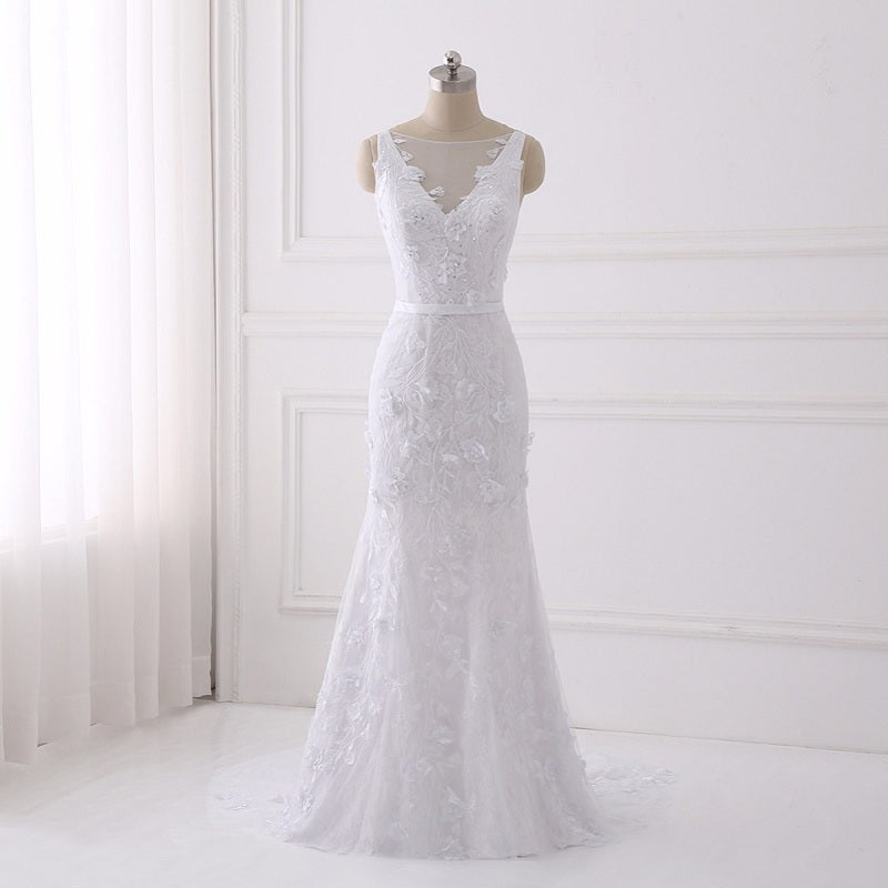 Shop Beautiful lace wedding dresses flower mermaid dress with button ...