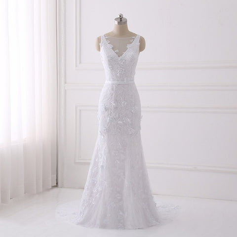Beautiful lace wedding dresses flower mermaid dress with button D94