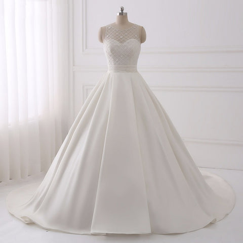 Beautiful princess wedding dresses  satin asymmetrical dress D62
