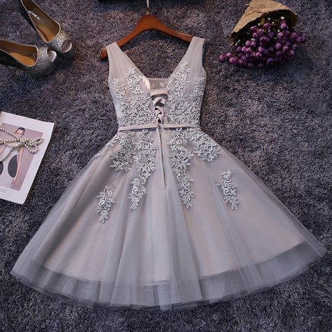 Beautiful sleeveless lace-up short tulle cocktail dresses T32