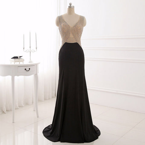 Black Illusion evening dresses sexy knitting formal dress E42