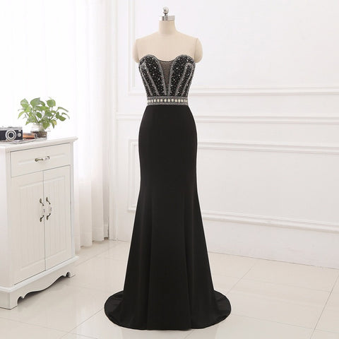 Black elegant mermaid evening dresses strapless ball gown E25