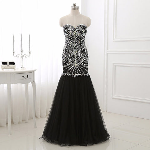 Black mermaid evening dresses handsome beading tulle ball gown E41