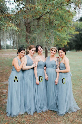 Blue tulle sleeveless fashion long bridesmaid dresses R19