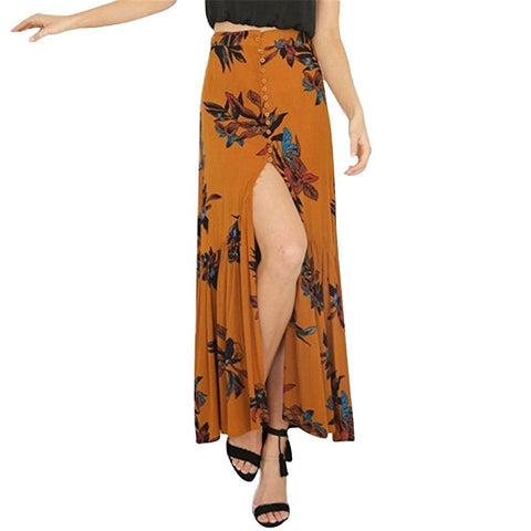 Bohemia summer floral printed vintage long skirts S110