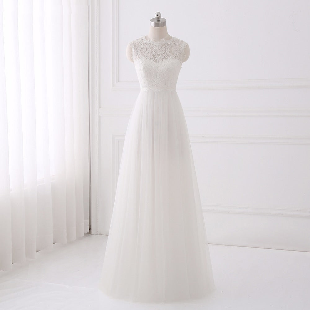 Bohemian wedding dresses simple A-line O-neck lace dress for sale ...