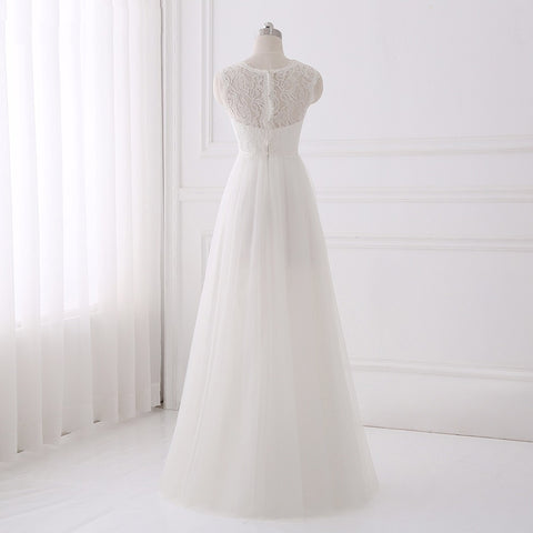 Bohemian wedding dresses simple A-line O-neck tulle dress D74