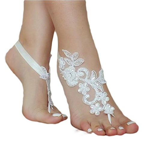 Bridal crochet barefoot sandals lace anklets wedding accessories S135
