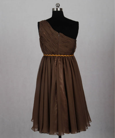 Brown chiffon gold waistband short one shoulder party dresses T15
