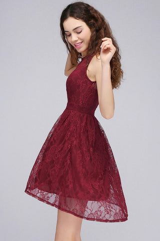 Burgundy illusion sleeveless A-line lace newest cocktail dresses T44