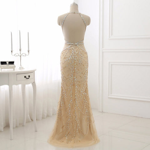 Champagne evening dresses mermaid tulle ball gown sparkly beading E24