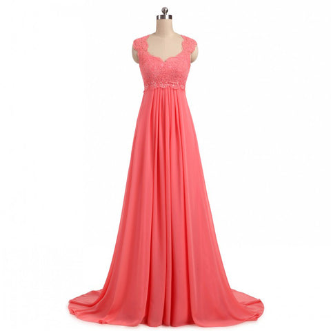 Chiffon A-line evening dresses lace up back formal dress E05