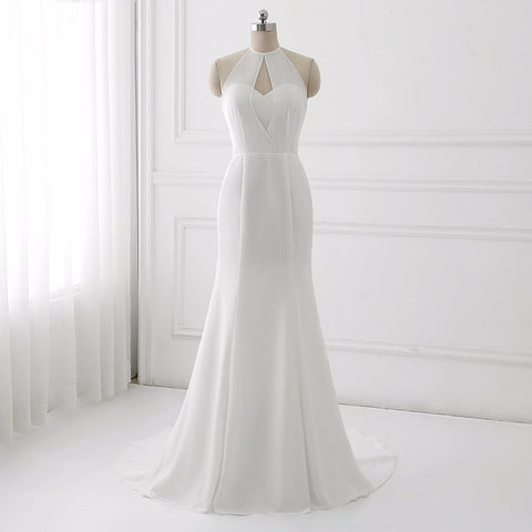 Chiffon asymmetrical wedding dresses mermaid sexy backless dress D90