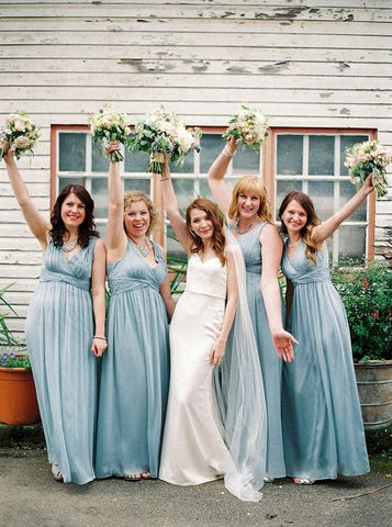Chiffon long blue modern V-neck bridesmaid dresses R13