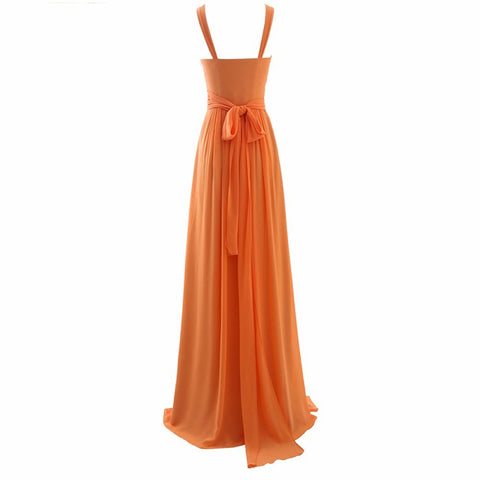 Elegant A-line evening dresses chiffon V-neck bridesmaid dress E43