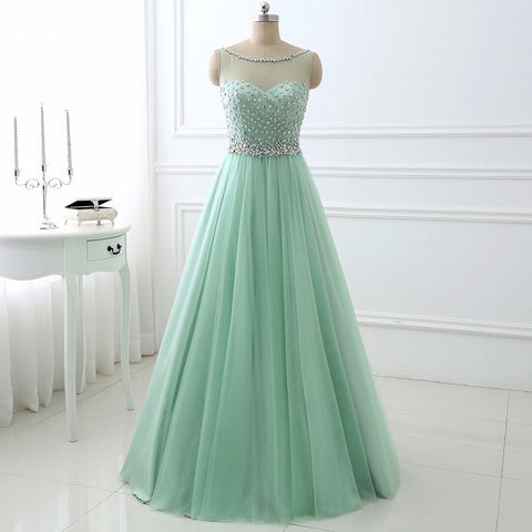 Elegant A-line evening dresses scoop neck tulle ball gown E36