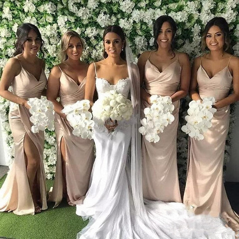 Elegant V-neck long bridesmaid dresses with slit R07