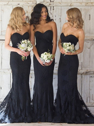 Elegant black sweetheart mermaid lace bridesmaid dresses R10