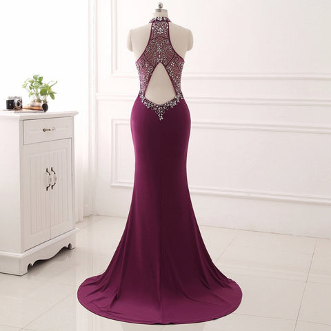 Elegant halter mermaid evening dresses stain sleeveless ball gown E28