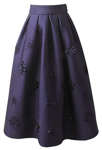 Elegant knee-length pleated skirt womens Winter Cotton A-line skirts S49