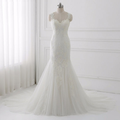 Elegant mermaid lace wedding dresses tulle asymmetrical dresses D58