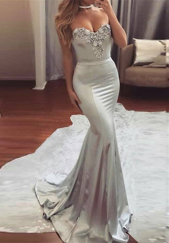 Elegant mermaid sweetheart beadings evening dresses B105