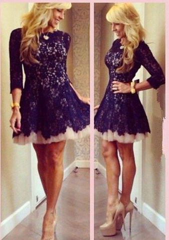 Elegant 3/4 sleeve lace short homecoming cocktail dresses T26