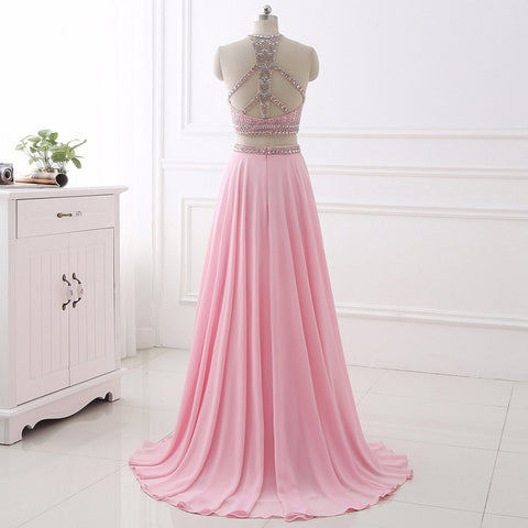 Elegant two pieces evening dresses chiffon halter formal dress E31